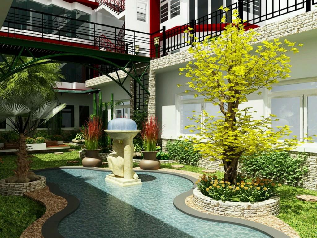 دومین قدم در طراحی باغ ویلا و یا باغچه و توجه به کفپوش و پوشش سقف